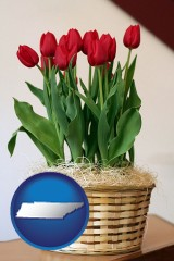 tennessee map icon and a gift basket with red tulips