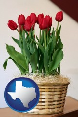 texas map icon and a gift basket with red tulips