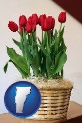 vermont a gift basket with red tulips