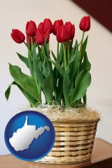 west-virginia map icon and a gift basket with red tulips