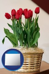 wyoming map icon and a gift basket with red tulips