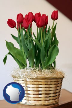 a gift basket with red tulips - with Wisconsin icon