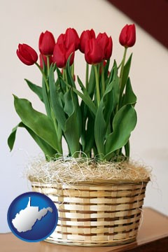 a gift basket with red tulips - with West Virginia icon