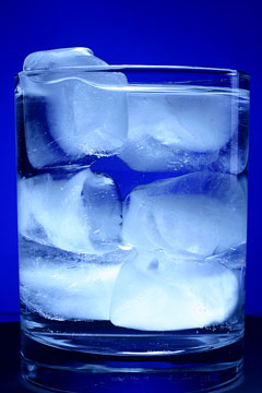 a glass of ice water