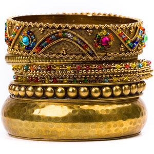 Asian-style golden bracelets