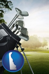 delaware map icon and golf clubs on a golf course