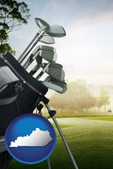 kentucky map icon and golf clubs on a golf course