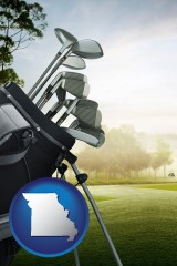 missouri map icon and golf clubs on a golf course