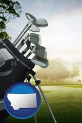 montana map icon and golf clubs on a golf course