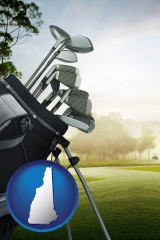 new-hampshire map icon and golf clubs on a golf course