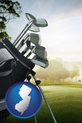 new-jersey map icon and golf clubs on a golf course