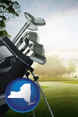 new-york map icon and golf clubs on a golf course