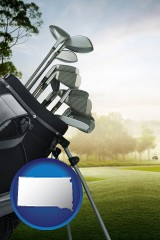 south-dakota map icon and golf clubs on a golf course