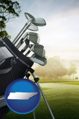 tennessee map icon and golf clubs on a golf course