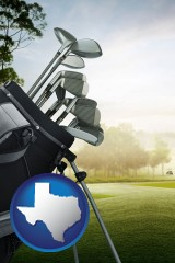 texas map icon and golf clubs on a golf course