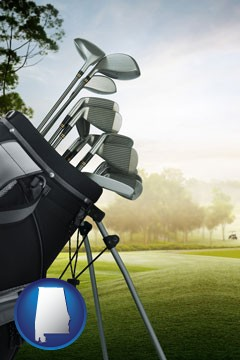 golf clubs on a golf course - with Alabama icon
