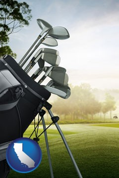 golf clubs on a golf course - with California icon