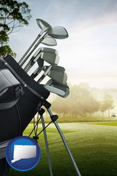 golf clubs on a golf course - with Connecticut icon