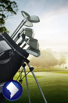 golf clubs on a golf course - with Washington, DC icon