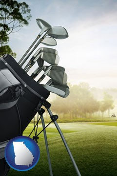 golf clubs on a golf course - with Georgia icon