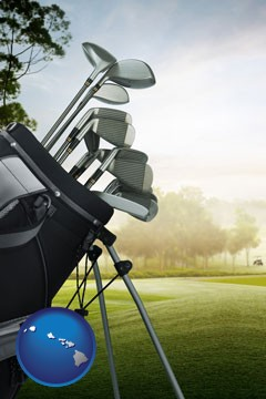 golf clubs on a golf course - with Hawaii icon