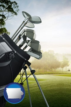 golf clubs on a golf course - with Iowa icon