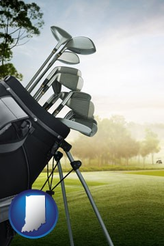 golf clubs on a golf course - with Indiana icon