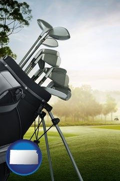golf clubs on a golf course - with Kansas icon