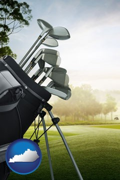 golf clubs on a golf course - with Kentucky icon