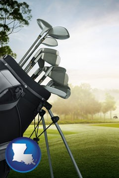 golf clubs on a golf course - with Louisiana icon