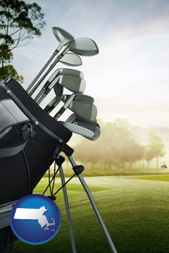 golf clubs on a golf course - with Massachusetts icon