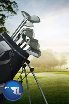 golf clubs on a golf course - with Maryland icon