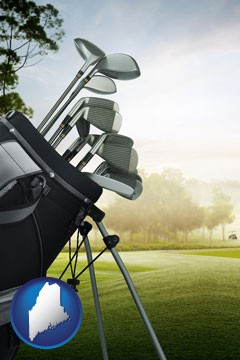 golf clubs on a golf course - with Maine icon