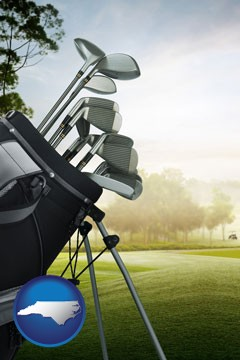 golf clubs on a golf course - with North Carolina icon