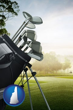 golf clubs on a golf course - with New Hampshire icon