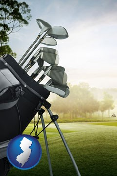 golf clubs on a golf course - with New Jersey icon