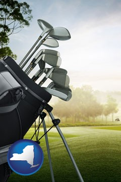 golf clubs on a golf course - with New York icon