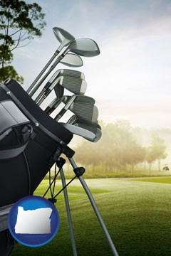 golf clubs on a golf course - with Oregon icon