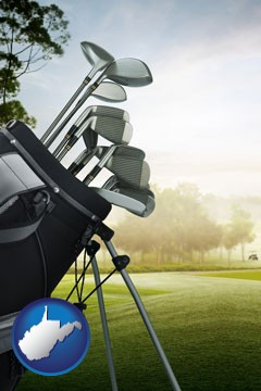 golf clubs on a golf course - with West Virginia icon