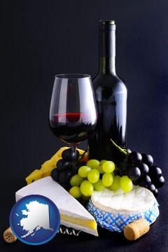 gourmet food and wine - with Alaska icon