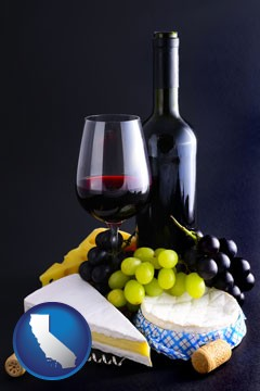 gourmet food and wine - with California icon