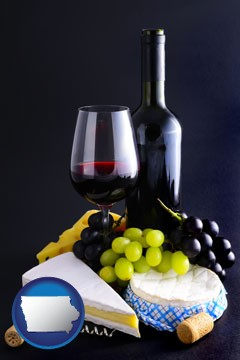 gourmet food and wine - with Iowa icon