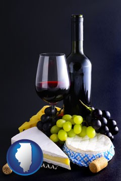 gourmet food and wine - with Illinois icon