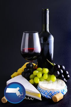 gourmet food and wine - with Massachusetts icon