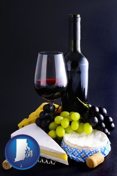 gourmet food and wine - with Rhode Island icon