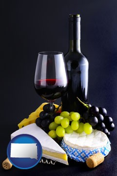 gourmet food and wine - with South Dakota icon
