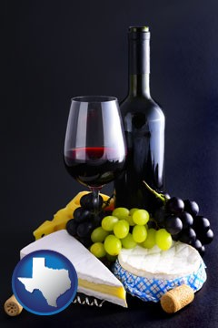 gourmet food and wine - with Texas icon