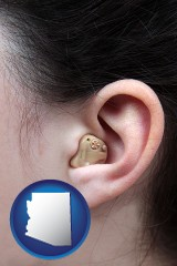 arizona map icon and a woman wearing a hearing aid in her left ear