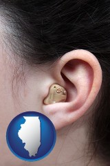 illinois map icon and a woman wearing a hearing aid in her left ear