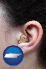 tennessee a woman wearing a hearing aid in her left ear